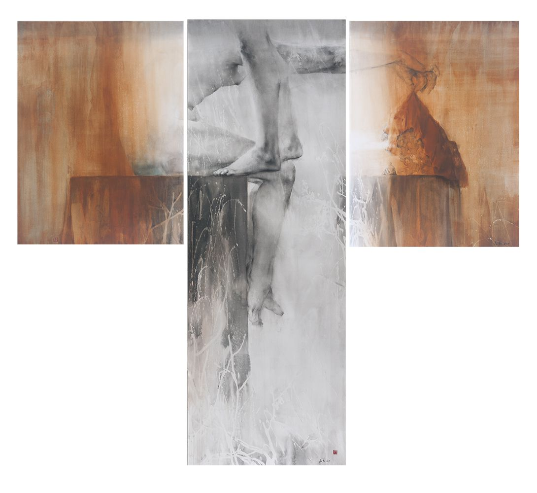 World Unveiled, ink, charcoal, pigment and acrylic on paper, 192 x 69 cm / 96 x 72 cm x 2, 2015